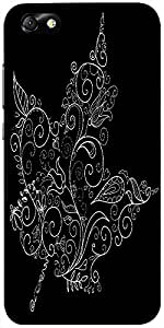 Snoogg Black And White Maple Leaf Designer Protective Back Case Cover For Hua...