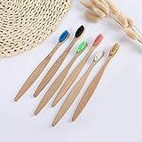 Flat Bamboo Toothbrush Colored Nylon Bamboo Toothbrush - Compostable Wood - Adult 4 Toothbrush - Black