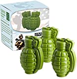 Himi Grenade Ice Cube Mold Silicone 3D Life Size Hand Grenade Mold - Set of 3 - Whisky Cocktail Ice Ball Tray Maker, Perfect Gift for Men, Military Fans