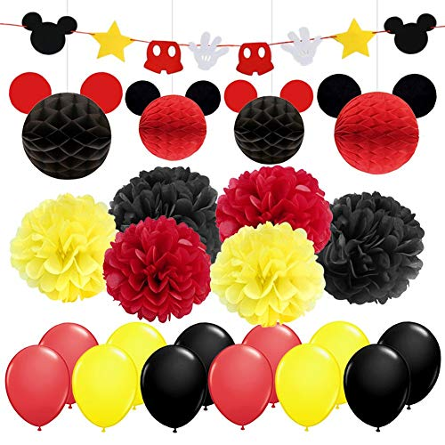 KREATWOW Mickey Mouse Partyzubehör & Dekorationen Gelb Schwarz Rot Mickey Mouse Geburtstag Dekorationen Garland Banner Seidenpapier Pompoms Papierkugeln für Kinder Geburtstags Feier Baby Shower (Maus Geburtstag Micky)