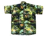 Hawaiihemd Hawai Freizeit Hemd Shirt Viskose grün Palmen schwarz, Größe:XXL