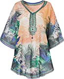 Pastunette Ladies Beach Kaftan Animal Print ~ Floral ~ Paisley ~ Cover Up ~ Choice of 6 Styles ~ (Orange Peacock Feather)