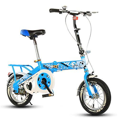 Preisvergleich Produktbild Kinder Faltrad, 12-14-16-20 Zoll Jungen und Mädchen Schüler Fahrrad 6-8-10-12 Jahre alt Kinderwagen ( Farbe : Blue-A , größe : 12 inch )