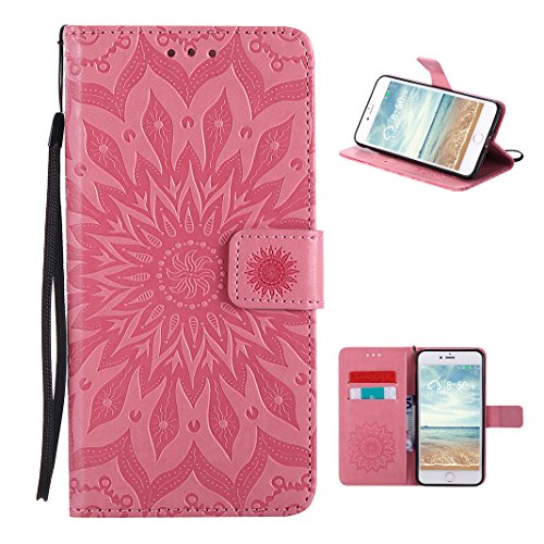 Coque iPhone 8 Plus Mandala, Étui iPhone 7 Plus Housse Portefeuille Cuir, Moon mood® Portable Couverture Folio Case Cover pour Apple iPhone 7 Plus 5.5 pouce Coque en PU Cuir Etui Couvrir Cas de Téléph 2-Rose