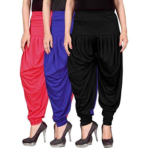 Culture the Dignity Women's Lycra Dhoti Patiala Salwar Harem Pants CTD_00PB1B_2-PINK-BLUE-BLACK-FREESIZE -...