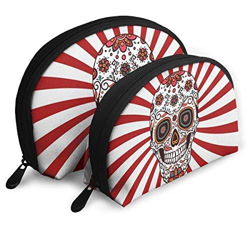 (Make-Up Bag Candy Skull Travel Makeup Pencil Pen Case Multifunction Storage Portable - 2 Piece Set)