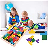 SN Toy Zone Wooden Tetris Blocks and Shapes Jigsaw Puzzle with 1 Fancy Gel Pen Brick Game - Pack of 40 Pieces