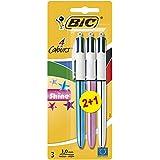 BIC 4 Couleurs Shine Stylos-Bille - Corps Métalliques Assortis, Blister de 2+1