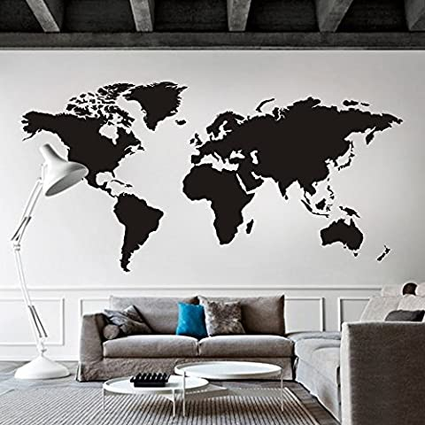 World Map Wall decal Removable Map Decal Vinyl Map wall Decor World Map Wall Sticker Living room Art Decor Black by WallsUp