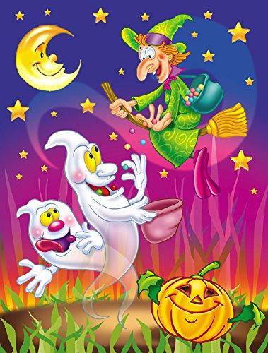 Caroline 's Treasures aph3799chf Hexe und Geister Halloween Leinwand House Flagge, Groß, multicolor