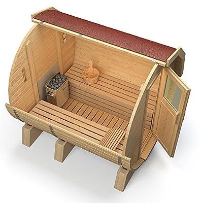 ISIDOR Fasssauna K1 Premium 2,12m mit HARVIA BC80, Espe-Saunaholz bei allen Innensitzbänken von ISIDOR Holzbau bei Du und dein Garten