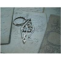 Porte-clés / collier en métal couleur Argent représentant un dragon - The elder Scrolls - Skyrim - Oblivion - Morrowind