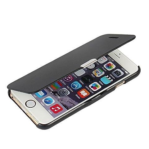 iPhone 6 Plus Hülle, iPhone 6s Plus Hülle, MTRONX™ Magnetisch Dünn Leder Folio Flip Klapphülle Etui Schutzhülle Tasche Case Cover für Apple iPhone 6 Plus iPhone 6s Plus - Schwarz(MG-BK)