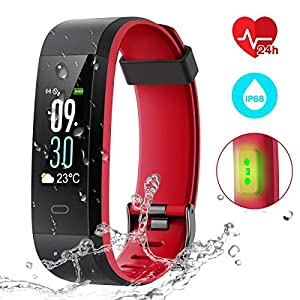 51IOXnNMhYL. SS300  - EUMI Color Screen Fitness Tracker Heart Rate Monitor Activity Tracker Wristband Watch Waterproof IP68 with 14 Training Modes/Weather Forecast/Pedometer/Sleep Monitor/Messages for Women Men Kids