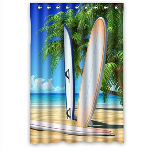 Mejor vendedor cortina, diseño fresco Patrón de tablas de surf Custom 100% poliéster resistente al agua cortina de ducha 48x 72