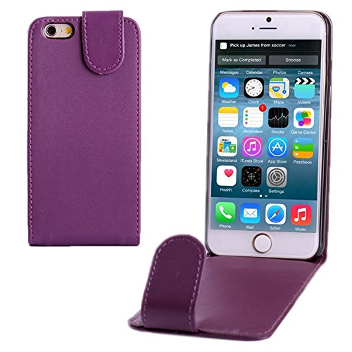 wortek Flip Case Vertikal Apple iPhone 6 4,7 Zoll Tasche Etui Pure Color Magnetverschluss Schwarz Lila