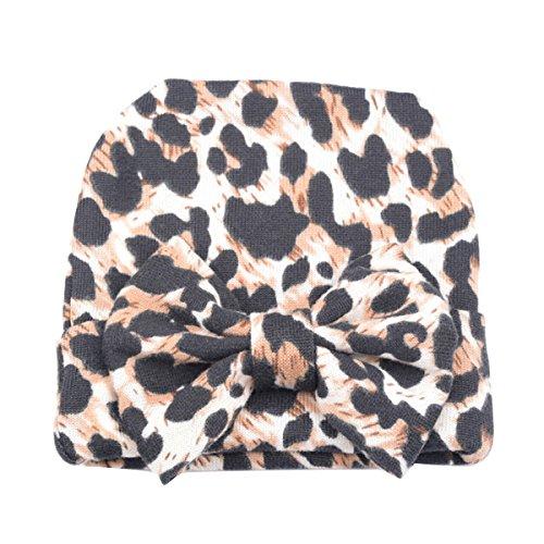 Butterme Infant delle neonate dei ragazzi di leopardo Nursery Newborn Ospedale della protezione del cappello con grande Bowknot
