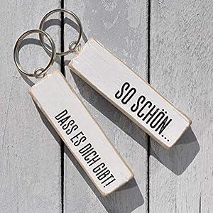 Schlüsselanhänger aus Holz - Schön, dass es Dich gibt