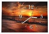 LAUTLOSE Designer Tischuhr Sonnenuntergang Meer Standuhr modern Dekoschild Bild 30