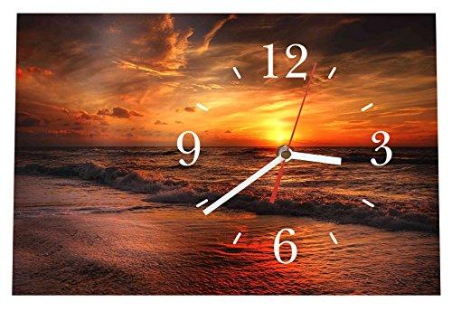 LAUTLOSE Designer Tischuhr Sonnenuntergang Meer Standuhr modern Dekoschild Bild 30 x 20cm
