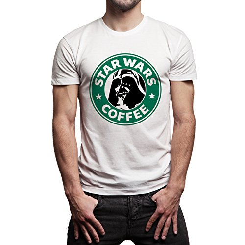 Starbucks Star Wars Coffee Darth Wader Background Herren T-Shirt Weiß