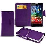 (Purple) Motorola RAZR HD XT925 Super dünne Kunstleder Saugnapf Wallet Case Hülle mit Credit / Debit Card SlotsBy Spyrox