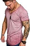 Ehpow Homme T-Shirt à Manches Courtes Casual Couleur Pure Top Tees (Large, Rouge)