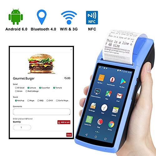 Handheld Android6 0 POS Terminal with 2G 3G WIFI Bluetooth NFC MUNBYN  Built-in Thermal Printer and 1D 2D QR Barcode Reader with Charger Dock for  Small