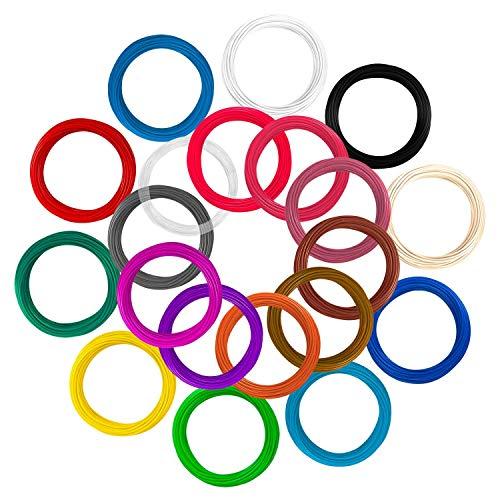3D Stift Filament PLA, 20 Farben, je 10M – 3D Pen PLA Filament 1,75mm, 3D Stift Farben Set für 3D Druck Stift (20 Colors, 328 Ft insgesamt) - 2