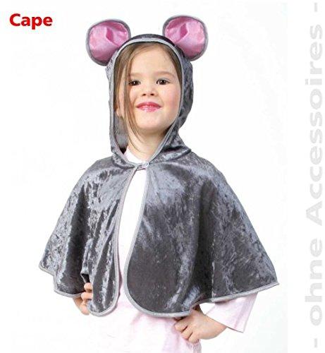 Cape Maus grau mit Kapuze Kinder Kostüm Fasching Pannesamt GR - Cape Samt Kind Kostüm