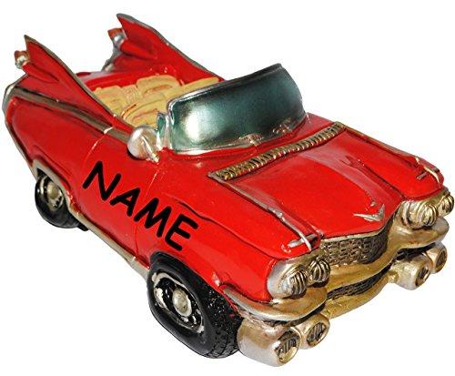 """Preisvergleich Produktbild Spardose - """" altes Cabrio Auto / Oldtimer - ROT """" - incl. Name - stabile Sparbüchse aus Kunstharz / Polyresin - Fahrzeug Sparschwein lustig witzig Kuba / Auto - New York NYC yellow Cab - Autos / Reise - Führerschein / Führerscheinprüfung - 50er Jahre / Retro - Amerika - amerikanischer Rennwagen - Reisekasse Urlaub Reisen - Nostalgie"""