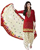 #5: Great Indian Festival Dress Materials for women Designer Party Wear Today Offers Low Price Sale Top Red Color Faux Cotton Fabric Free Size Salwar Suit