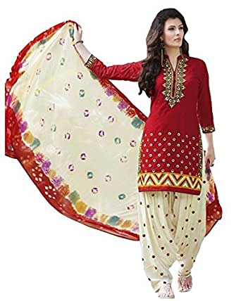 Great Indian Festival Dress Materials for women Designer Party Wear Today Offers Low Price Sale Top Red Color Faux Cotton Fabric Free Size Salwar Suit