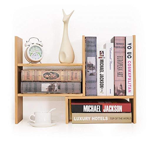 Yeakoo - scaffale da scrivania in bambù, regolabile, scaffale espositore multiuso, per casa, cucina, ufficio, libri, fiori e piante
