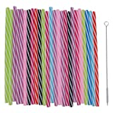 Sharplace 25 Pieces Colorful Reusable Hard Plastic Stripe Drinking Straws+1 Piece Cleaning Brush for Mason Jar and Tumblers Home Party Tableware
