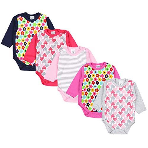 TupTam Unisex Baby Langarm Wickelbody Baumwolle 5er Set , Farbe: Mädchen, Größe: 62