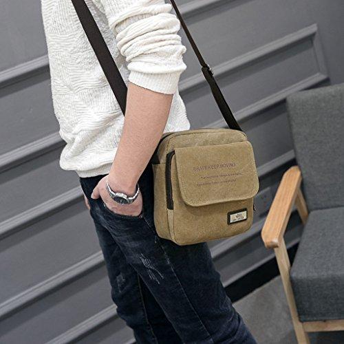 Super moderno uomo piccolo tela vintage messenger bag a tracolla confezione organizzatore cartella mini multi-pocket Sling borsa a tracolla, Uomo, Black Khaki