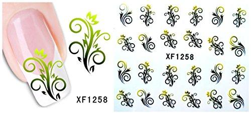 Autocollants de transfert à eau pour la décoration des ongles Fleur - XF1258 Nail Sticker Tattoo - FashionLife