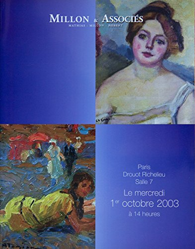 Gravures, Dessins, tableaux modernes et contemporains, Paris, Drouot Richelieu, Mercredi 1er octobre 2003 par Millon & Associés