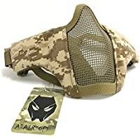 Media máscara táctica Worldshopping4u con 2 correas para proteger la cara durante el paintballl o airsoft, Desert Digital (AOR1)