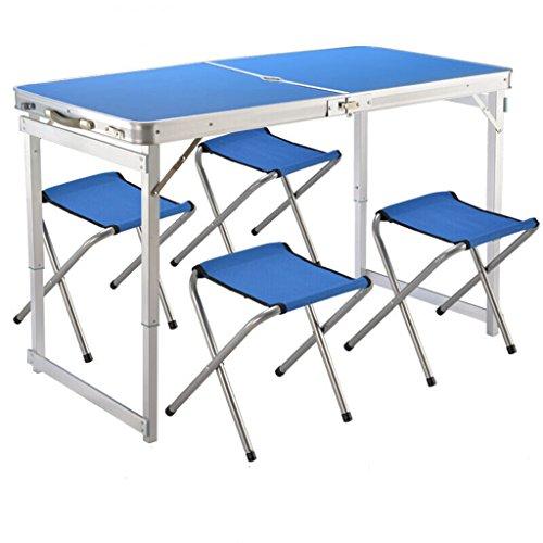 Klapptisch tragbaren Tisch und Stuhl Set Aluminium Klappstuhl im Freien Camping Grill Stall Tabelle 1 Tisch +4 Hocker (Farbe : Blue)