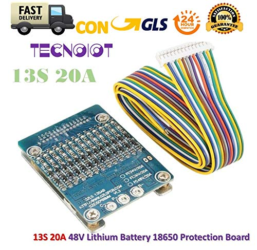 TECNOIOT 13S 48V 20A Li-ion Lithium Cell 18650 Battery Protection BMS PCB Board - 20a/3-bank