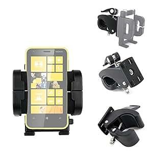 Support vélo compatible avec Smartphones Microsoft Lumia 640, 435 Dual SIM, 532, Microsoft Lumia 532 et Motorola Moto E (2015) – 4 en 1 sur guidon et pour habitacle de voiture – Par DURAGADGET
