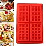 takestop® Stampo in Silicone per Waffles WAFFEL Wafer 4 COMPARTI Forma Rettangolare Cucina FRITTELLE Antiaderente Padella