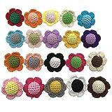Coskiss 10pcs 20 Couleur 40mm Crochet Fleur Sensory Gym Bébé Collier De Dentition Bébé Bites Jouets Perles En Bois Faire Des Bijoux Cou Perles (10pcs)