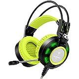 Kopfhörer, Nubwo K6 Stereo-Gaming-Headset mit Mikrofon, bester Enhanced-Bass Audiophil-Stereo-Kopfhörer, 2 Meter lang Audiokabel mit ein USB 2.0 und zwei 3,5 mm-Anschlüssen (Schwarz/Grün)