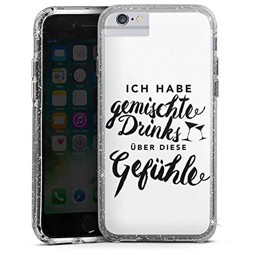 Apple iPhone 6s Bumper Hülle Bumper Case Glitzer Hülle Drinks Gefuehle Sprüche Bumper Case Glitzer silber