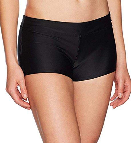 Avellara Badeshorts Badehose Damen High Waist Bikinihose Schwimmhose Sport Bikini Shorts UV Schutz Bade Hotpants Schwarz (size12) 40-42