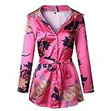GreatestPAK Blumendruck Damen Bluse Satin Seide lose Damen Kleid mit V-Ausschnitt T-Shirt,Pink,S