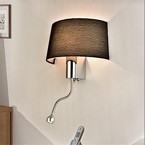 Schwarz / Weiß Nachttisch Wandleuchten 1W Led Spot Beleuchtung Sanitär Schlauch Rocker Arm Lesen Wandbeleuchtung mit Schalter Leuchter, schwarz